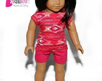 Special Sale 18 inch Doll Clothes, handmade to fit like American Girl Doll clothes, Aztec Inspired Knit Top and Hot Pink Shorts