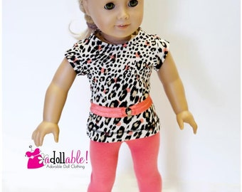 American made Girl Doll Clothes, 18 inch Doll Clothing, Leopard Spotted Top, Coral Leggings made to fit like American girl doll clothes