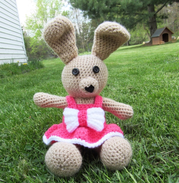 Amigurumi Bunny In Dress : Amigurumi Plush Bunny Rabbit with Removable Dress