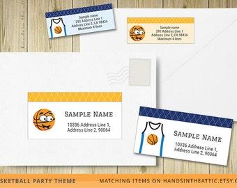Mailing labels, editable labels, address labels, shipping labels, custom labels, return address template, basketball stickers envelope, PDF