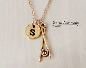 Gold Sushi and Chopsticks Necklace - Initial Necklace - Antique Gold Pewter Jewelry