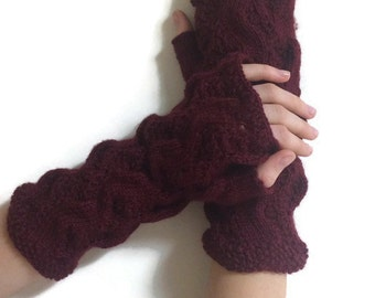 SALES 30%! Finger-less gloves. Red gloves for women. Accessories. Arm warmers. Hand knit. Women hand warmers.