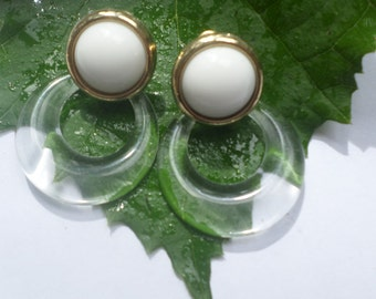 TRIFARI Gold Tone White and Clear Lucite Earrings Vintage  Post