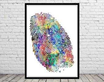 Fingerprint, fingerprint art, watercolor print, art poster, print, poster,  (2204b)