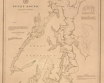 Nautical charts of Puget Sound, Washington Territory, 1889  Vintage restoration hardware home Deco Style old wall reproduction map print.