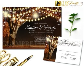 Outdoor Garden Rustic Wedding Invite & RSVP card String Lights Names Carved in Tree Brown - PRINTABLE File - Style Name: VIVIAN