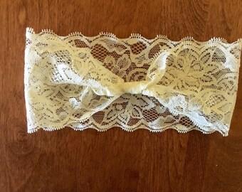 Lace Headband, stretchy lace, baby headbeand, ivory headband