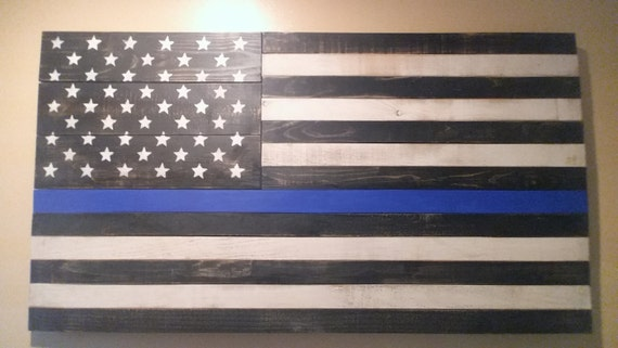 Black and white american flag wall decor : Items similar to huge police flag blue lives matter