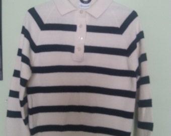 vintage wool sweater, marine wool sweater, blue navy and white stripped wool sweater, 1960's wool sweater A11