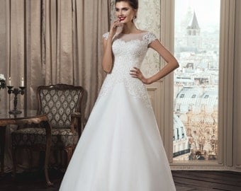 Elegant White/Ivory Wedding Dress that Features Illusion Neckline, Bridal Gown with Straps,A Line