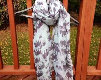 Green Elephant Scarf, Oversized Lightweight Soft Cotton Scarf