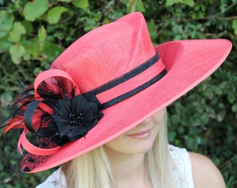 Dark coral / terracotta and black formal hat, wedding, Kentucky derby, royal ascot