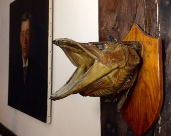 SOLD Vintage mounted Pike head on wooden mount.  Approx 1950's.   Fish taxidermy.
