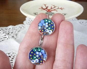 flowers on Pearl Earrings