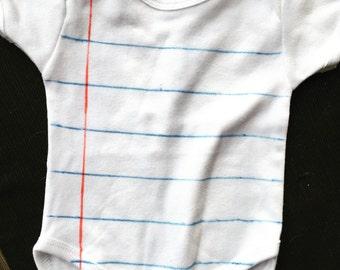 Baby Notebook Paper Onesie