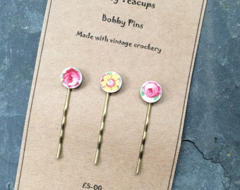 Set of 3 Upcycled China Bobby Pins