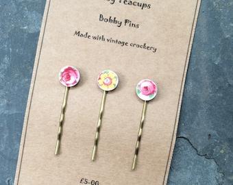 Set of 3 Upcycled China Bobby Pins