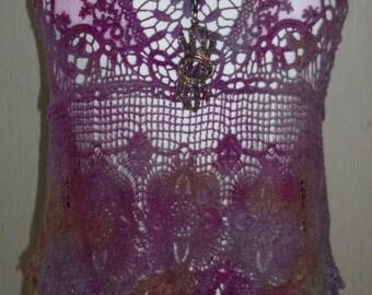 Lace/ Hippy/Festival/Crochet/Tie Dye/Fairy/Hand dyed Lace Crochet top