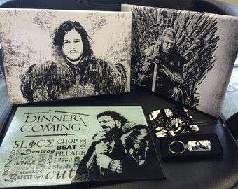 Game of Thrones Gift Set - Canvas, Coasters, Chopping Board, Keyring, Magnets