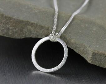 Simple eternity circle necklace, silver circle pendant, stylish modern, trendy minimalist, infinity circle, karma, wholeness pendant, friend