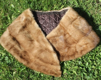 brown mink fur collar, fur scarf