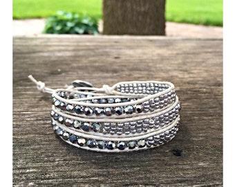 Crystal Lucy Wrap Bracelet, Leather Wrap Bracelet, Crystal Bracelet, Wrap Bracelet
