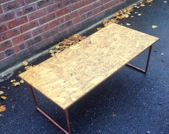 Handmade to order copper and chipboard furniture.