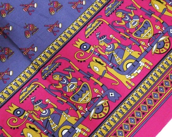Indian Decorative Beautifull Pictorial Pattern Apparel Crafting Sewing Dress Material Purple Printed Cotton Cambric Fabric By 1 Yard ZBC3063