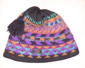 Vintage 80s Mountain Goat Skiwear Ski Retro geometric print Beanie HatWinter Tobaggan Cap