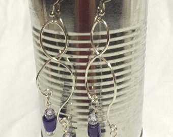 Silver and Blue Dangle Earrings; Recycled Water Bottle Beads