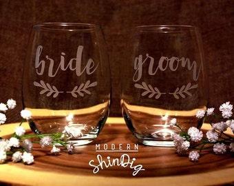 Bride and Groom Glass Wine Glasses Stemless Wedding Glasses Wedding Wine Glasses  Pair of 2 Etched Wine Glasses
