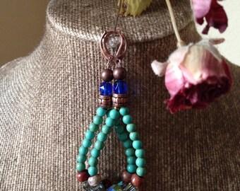 Turquoise and amber teardrop beaded earrings
