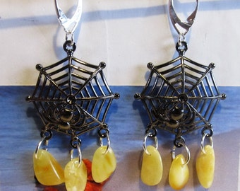 Amber Earrings Web Spider Natural Baltic beads yellow opaque Black Web, Silver color french clasp souvenir gift present Bernstein Ohrringe
