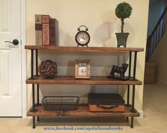 Industrial Bookshelf / Pipe Bookshelf / Free Standing Pipe Shelf / Display Shelf / Rustic Bookshelf / Standing Shelf / Floor Shelf