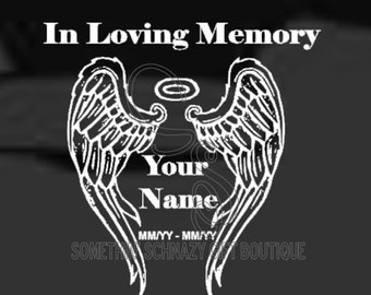 Angel Wings Car Decal, In Memory of Car Decal, Laptop Decal, Window Decal, Clip Board/Clipboard Decal, Vinyl Sticker, Vinyl Decal