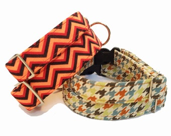 Geometric Dog Collars - Houndstooth and Chevron Brights