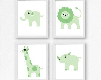 Baby Nursery Safari Animals in Green, Child's room, Nursery Decor, Baby room in Green, Baby Shower Art, gender neutral