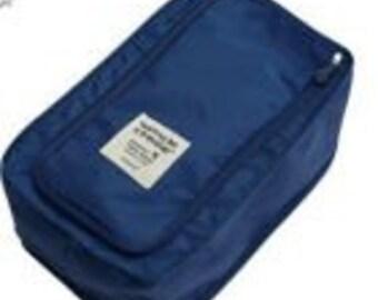 "Navy Travel Shoe Bag - 8"" X 12.5"" X 5""  ---- Organizer - Storage  Bag - Travel Bag"