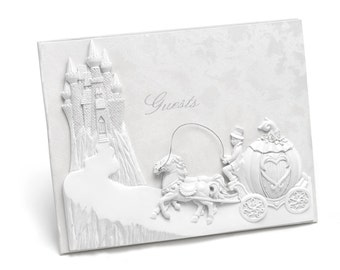 Fairy Tale Wedding Guest Book Fantasy Pearlescent White Wedding Castle With Resin Horse And Carriage Adornment. Records 800 Signatures.