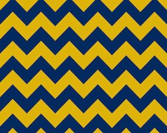 Blue Gold Medium Chevron for Riley Blake Designs - Yellow Royal - Cotton FLANNEL Fabric - by the yard fat quarter half