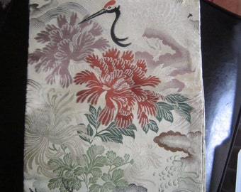 vintage crane and flowers obi