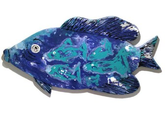 Big Painted Fish - Wood Fish - Painted wood fish