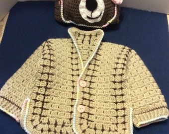 Crochet toddler Sweater and matchong bear hat