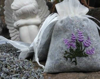 Dried Lavender Flower Sachets - Deluxe Sachets - 2016 Fresh Crop - Great For Weddings, Home Decor, and Much More!