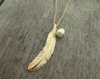 Feather Necklace / Charm Necklaces / Gold Filled Chain / Gift For Her / Tiny One 4mm White Pearl  / Feather Jewelry