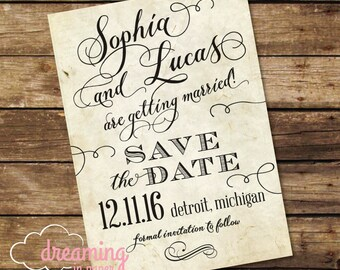 Vintage Design Save the Date with typography swirls