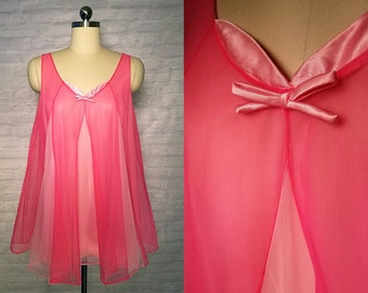 Pink Babydoll Nightgown with Matching Panties   vintage 1960s Nightgown   60s Nightwear