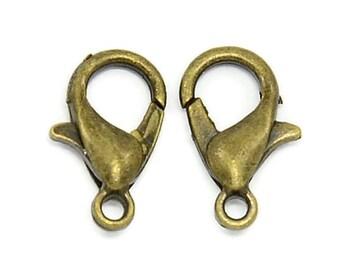 50 Pcs Antique Bronze Tone Lobster Clasp 12 x 6 mm | Trigger Clasps | Necklace Clasps Bracelet Clasps Trigger Claw | Parrot Clasps  |43-Brz