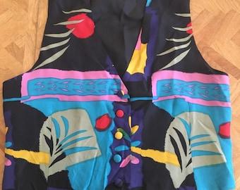 Vintage vest 1990s colorful