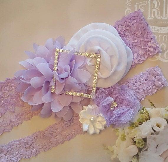 White Wedding Garter: Pastel Lavender And White Wedding Garter SetViolet And White